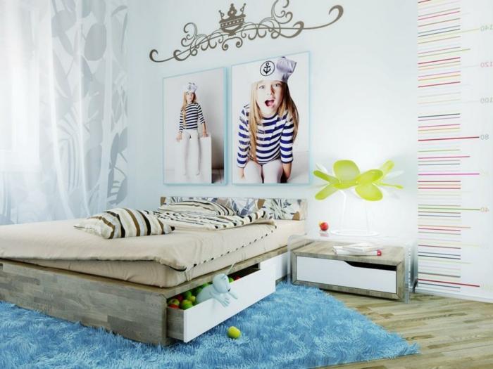 einrichtungsideen kinderzimmer mächenzimmer blauer teppich photos wanddeko