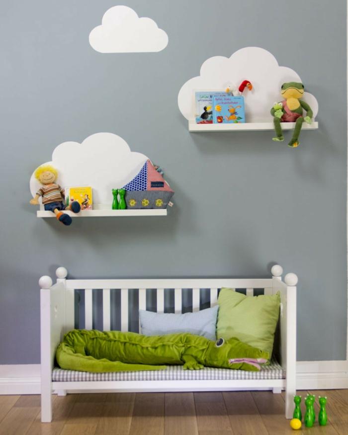 stauraum kinderzimmer offene wandregale wolken kreative bastelideen