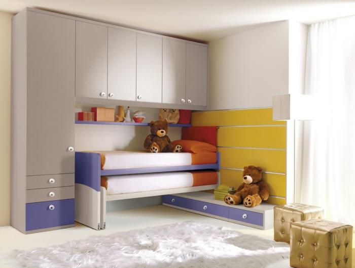 einrichtungsideen kinderzimmer rollbett farbige möbel hocker