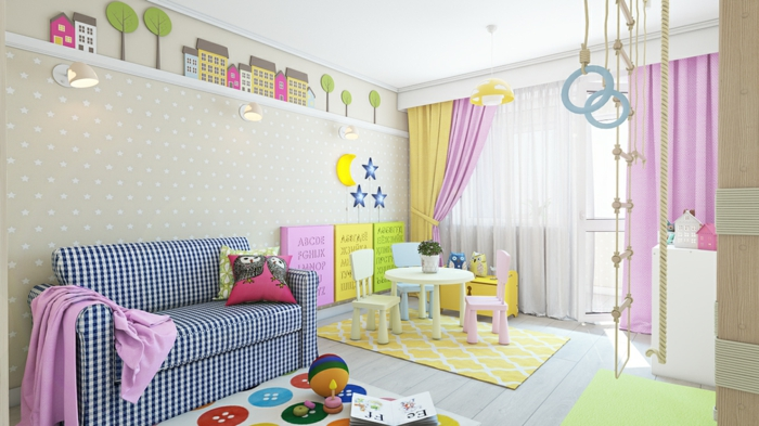einrichtungsideen kinderzimmer sofa bereiche farbige deko lila gardinen
