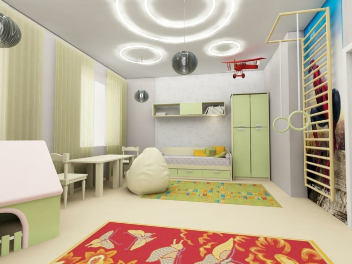 einrichtungsideen kinderzimmer zonierung gardinen