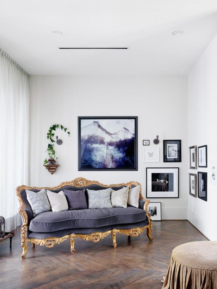 einrichtungsideen wohnideen wohnzimmer luxuriöses sofa wanddeko pflanze