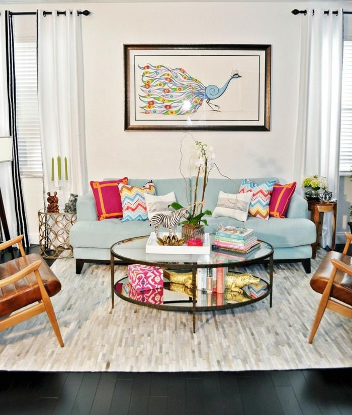 einrichtungsideen wohnzimmer dekorieren farbige dekokissen