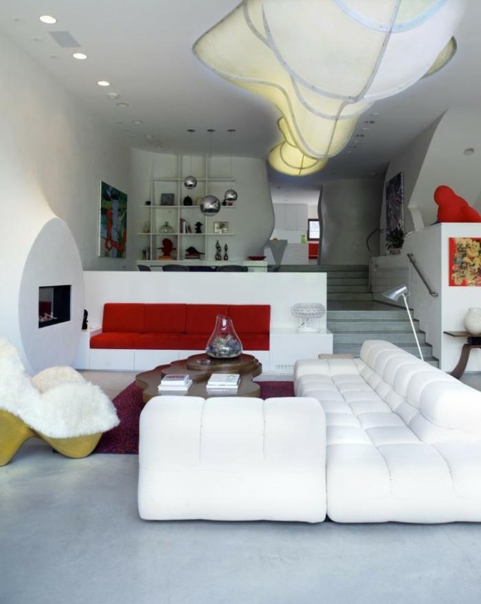 Einrichtungsideen Wohnzimmer Dekorieren Weiße Möbel Futuristisch