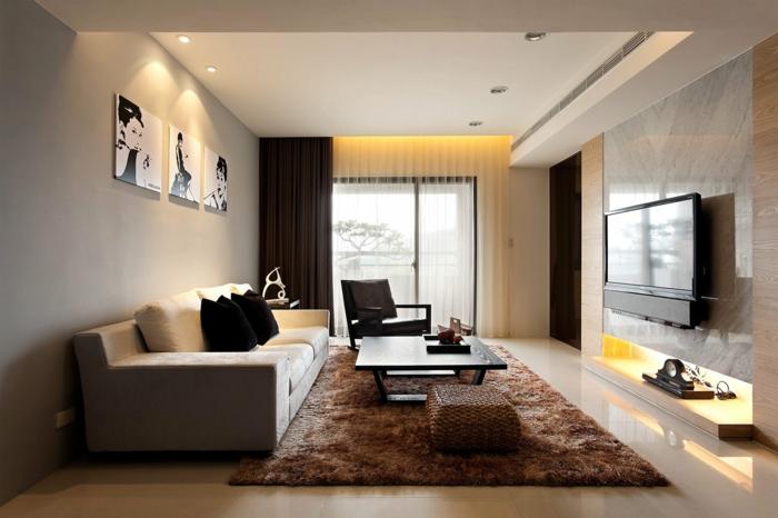 einrichtungsideen wohnzimmer gestalten fernseher brauner teppich dunkle gardinen