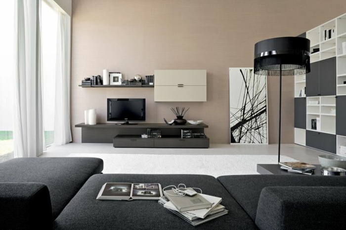 einrichtungsideen wohnzimmer graue möbel beige wandfarbe
