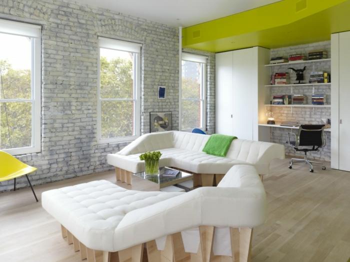 einzimmerwohnung einrichten loftwohnung ziegelsteinwand weiß offenlegen