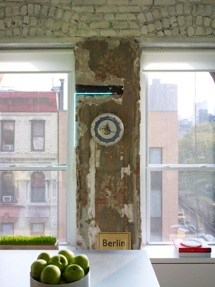 einzimmerwohnung einrichten ziegelsteinwand weiß shabby chic stil