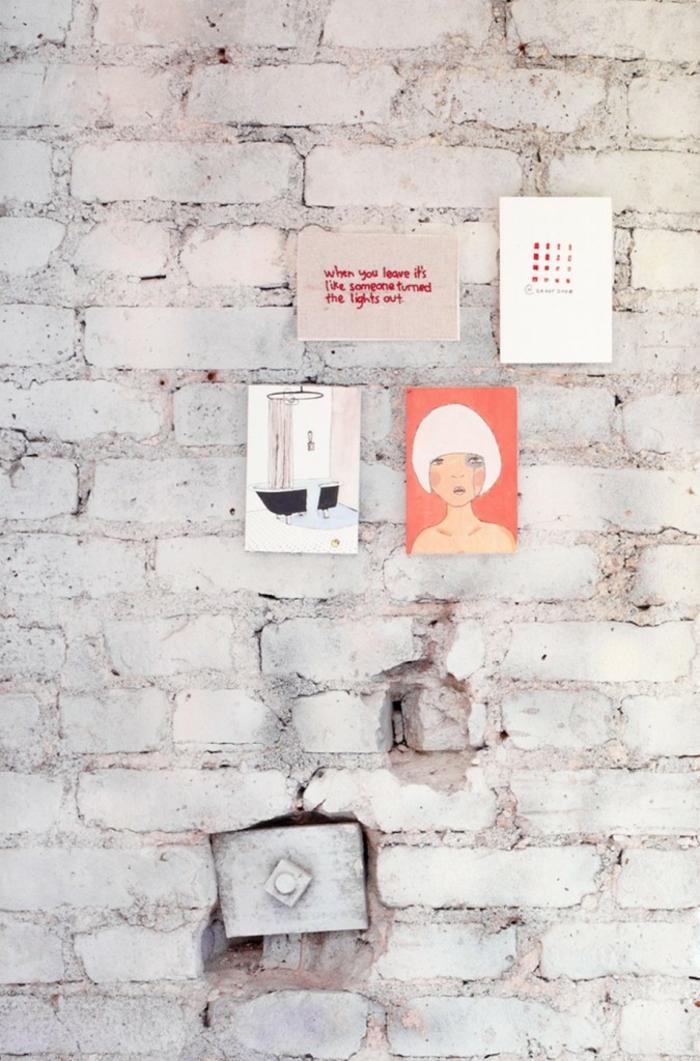 einzimmerwohnung einrichten ziegelsteinwand weiß wanddekoration fotos bilder