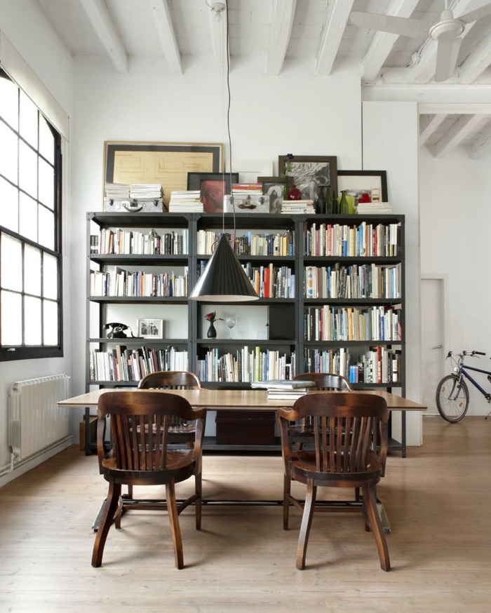 esszimmer einrichten pendelleuchte kleine bibliothek