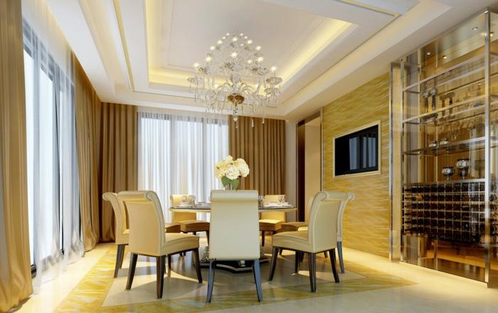 esszimmermöbel abgehängte decke deckenbeleuchtung runder esstisch