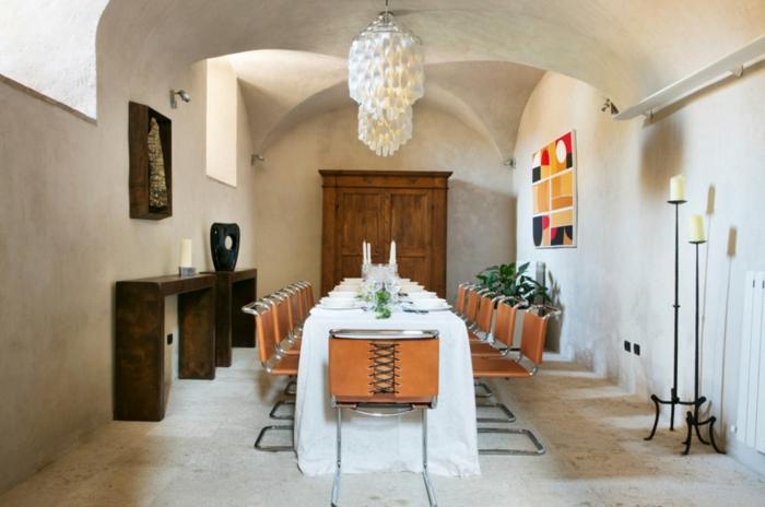 esszimmermöbel betonwände kerzen pflanzen