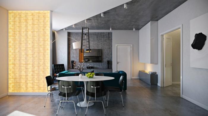 esszimmermöbel modern runder esstisch weiß schwarze stühle