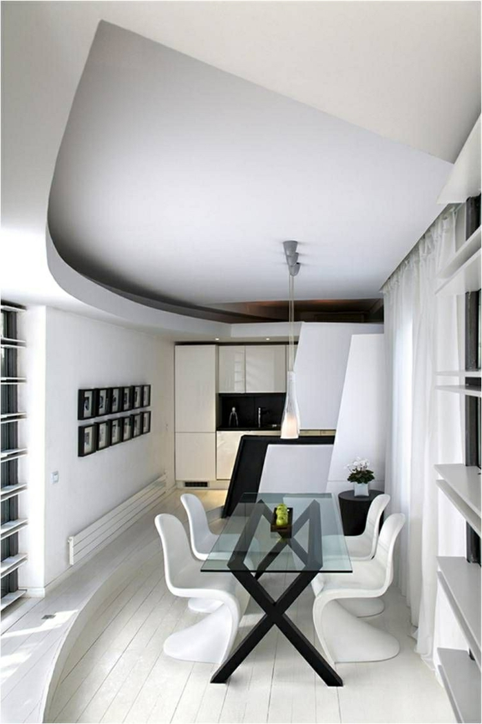 modernes esszimmer weiß schwarz coole zimmerdecke