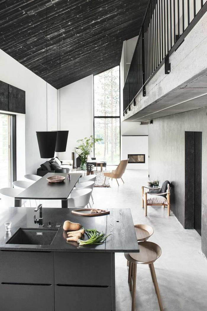 esszimmermöbel offener wohnplan küche schwarze kücheninsel