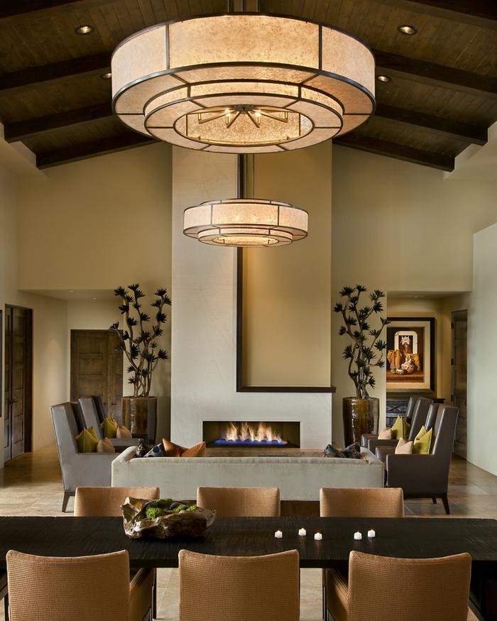 esszimmermöbel offener wohnplan wohnzimmer moderne feuerstelle
