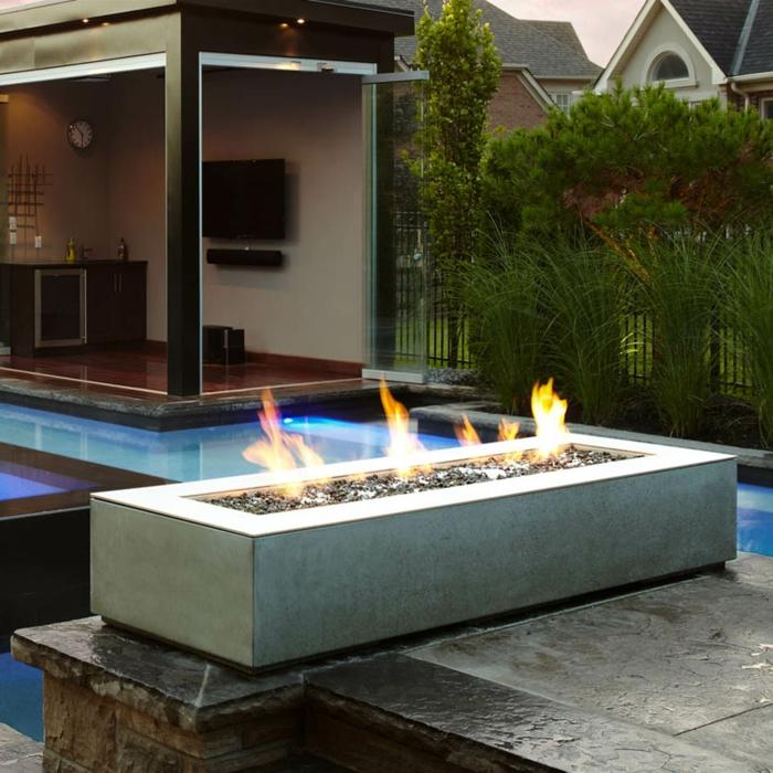 garten gestaltung feuerstelle schwimmbad außenküche
