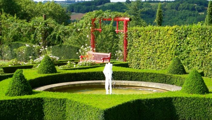 gartengestaltng garten ideen springbrunnen rund buchsbaum gestaltung