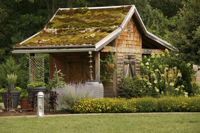gartenhaus ideen gartenpavillion holzhaus dachbegrünung