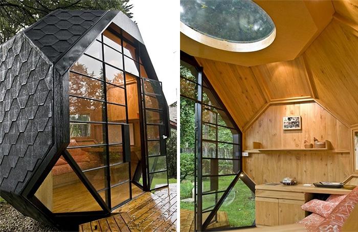 gartenhaus ideen gartenpavillion inspiration holz wandverkleidung glastür