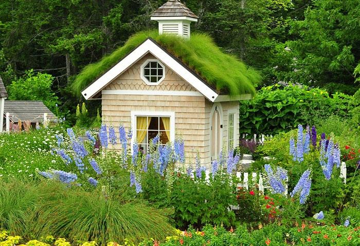 gartenhaus ideen gartenpavillion selber bauen holzhaus sommerblumen