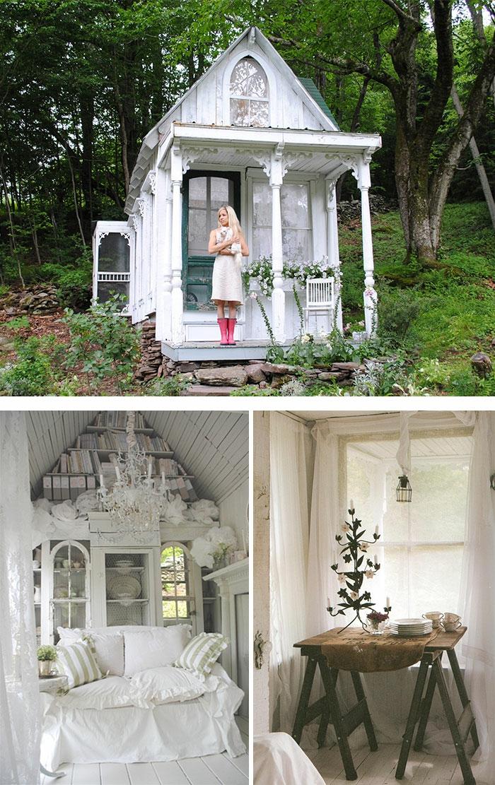 gartenhaus ideen gartenpavillion selber bauen inspiration bücherregale bett sofa klapptisch