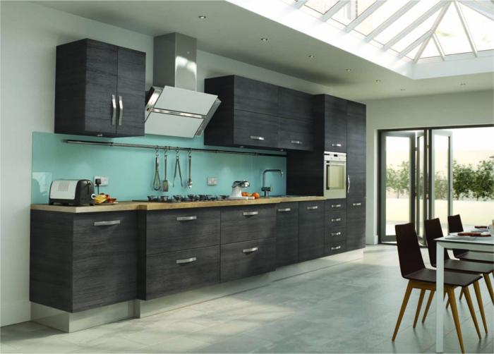 glasrückwand küche hellblau schicke küchenschränke