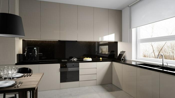 glasrückwand küche schwarze küchenrückwand helle einrichtung