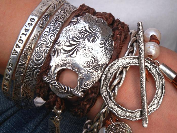hippie schmuck boho chic sommer mode silber armreifen armbänder leder