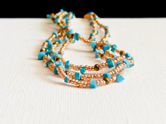 hippie schmuck boho chic stil halskette türkis perlen luulla