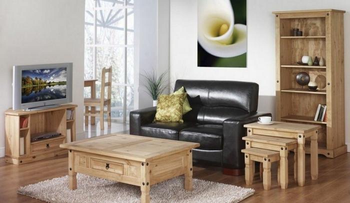 holzmöbel holzpflege wohnzimmer einrichtung regale couchtisch beistelltische