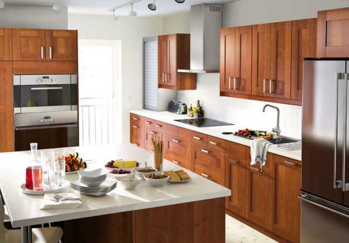 ikea küchen furniermöbel schränke kirschholz metall kücheninsel