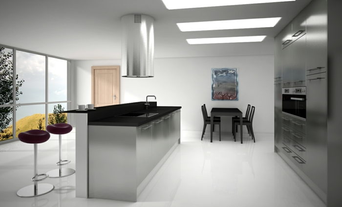 ikea küchen futuristisches design kücheneinrichtung innovativ metallene fronten esstisch stühle runde barhöcker