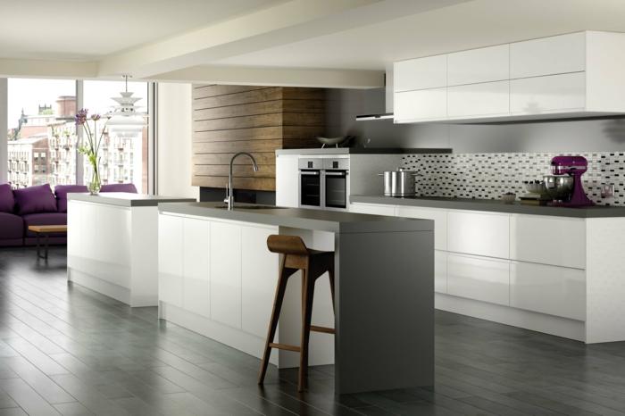 ikea küchen helle schränke weiß hochglanz kücheninsel spüle barhocker holz