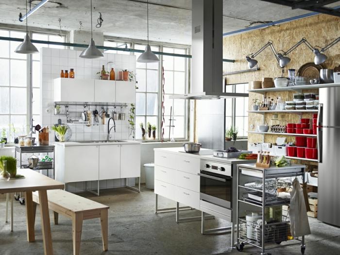 ikea küchen metall matt sperrholzplatten pendelleuchten weiße küchenschränke
