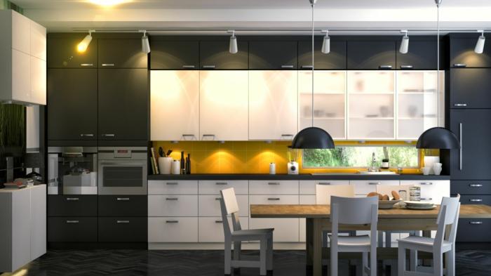 ikea küchen modernes mobiliar weiß anthrazit esstisch holzstühle pendelleuchte