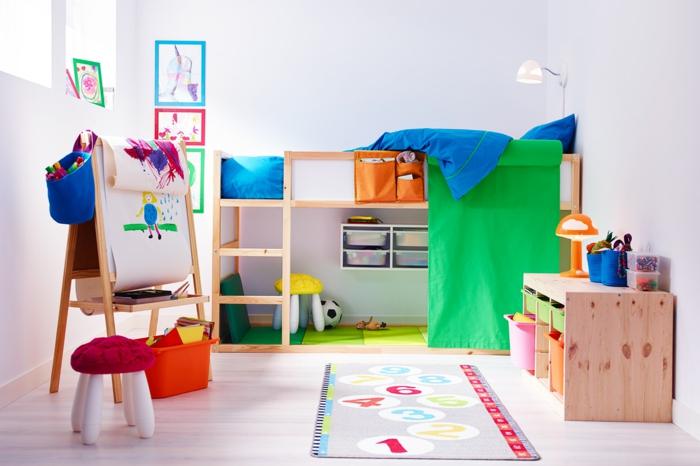 ikea kinderzimmer holzmöbel hochbett kinderzimmerteppich kommode