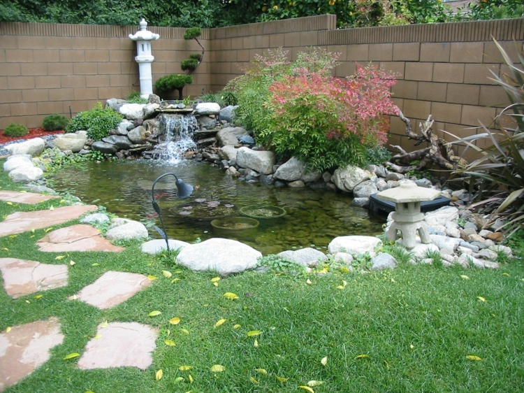 inspirierende Gartenteich Bilder Gartenideen Gartenzaun Steine