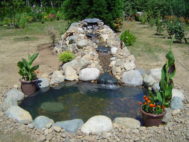 inspirierende Gartenteich Bilder Gartenideen Topfpflanzen Gartengestaltung mit Steinen