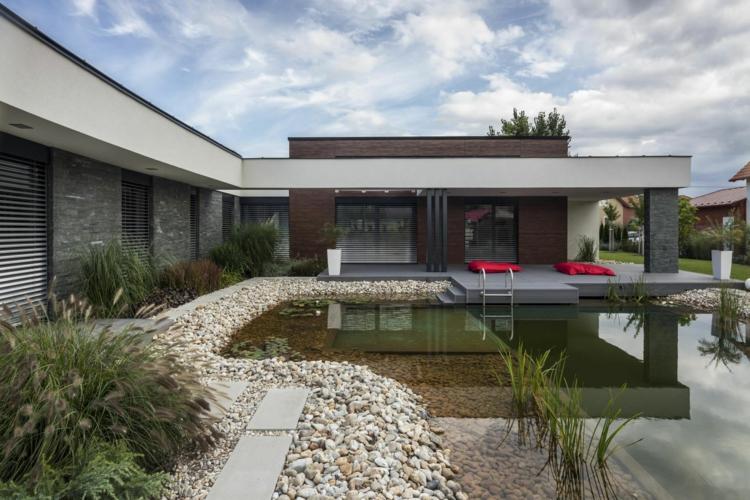 inspirierende Gartenteich Bilder modernes Haus mit Garten