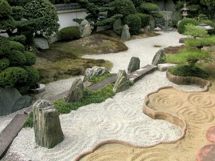 japanischer garten gartengestaltung ideen kieselsteine natursteine steinblöcke sand