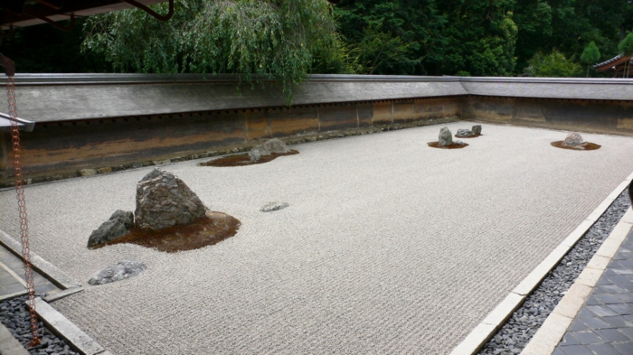 japanischer garten kyoto zen natursteine sand kieselsteine gartenmauer