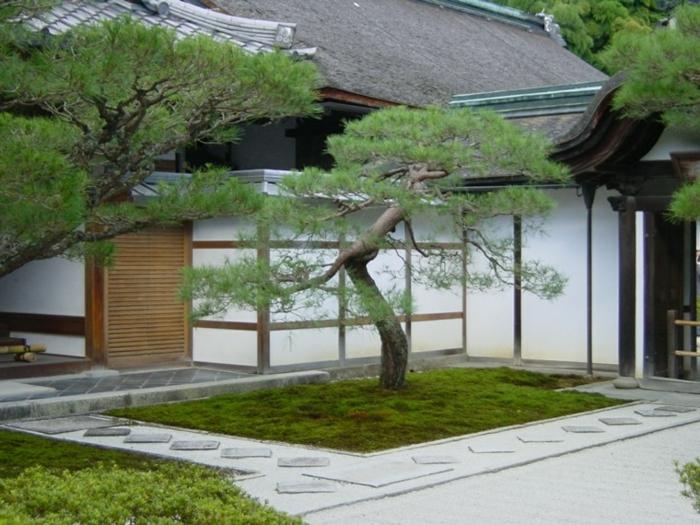 japanischer garten gartenhaus steinplatten kieselsteine