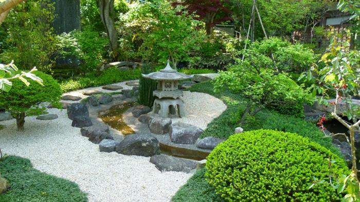 japanischer garten natursteine kieselsteine grüne pflanzen steinlaternen gartengestaltung
