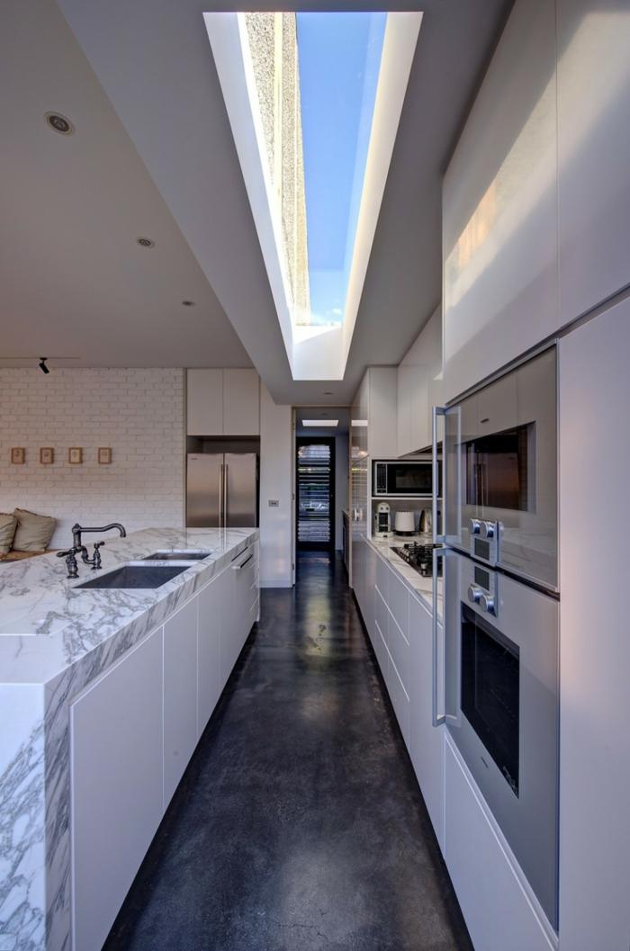 kücheneinrichtung kleine küche ideen kücheninsel marmor