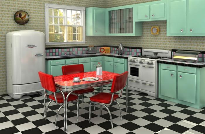kücheneinrichtung retro einrichtung farbige möbel tapete