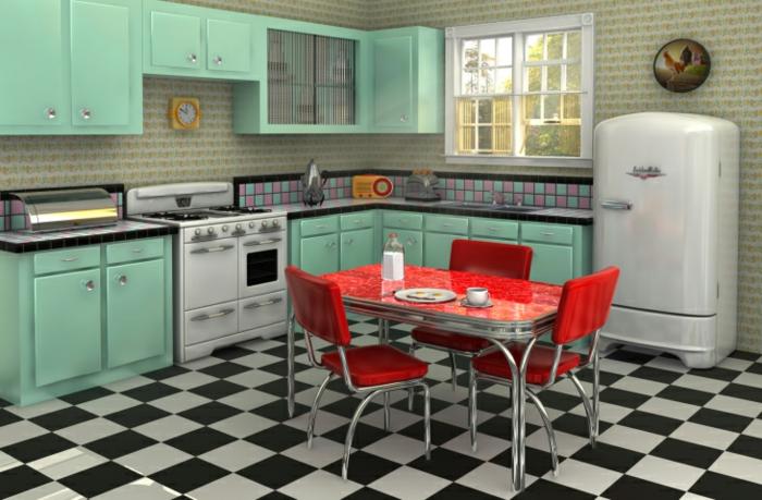 kücheneinrichtung retro stil kühlschrank seladongrüne schränke schachmatt bodenfliesen