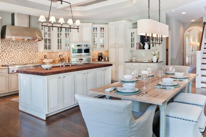 küchengestaltung feng shui küche komplett einrichten kücheneinrichtung esstisch stühle