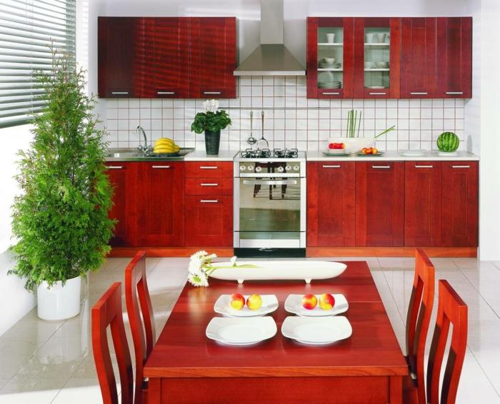 küchengestaltung qi energie feng shui küche einrichten rote küchenschränke holz