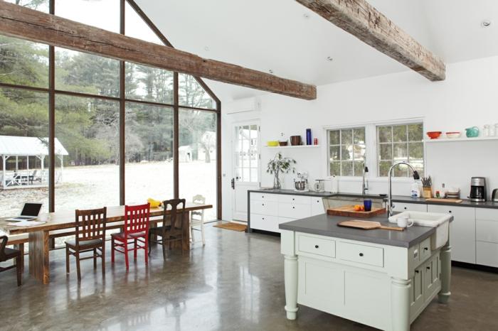 küchengestaltung qi energie feng shui kücheneinrichtung kücheninsel offene deckenbalken